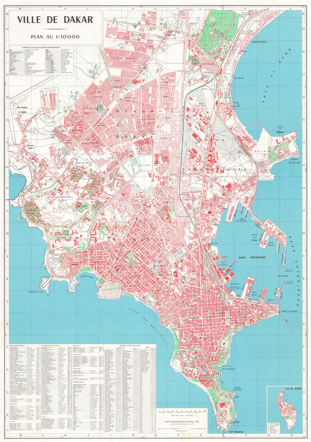 1964 Institut Geographique City Plan or Map of Dakar, Senegal
