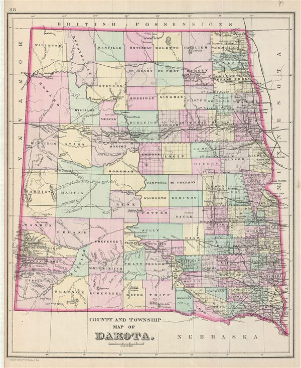 County and Township Map of Dakota.