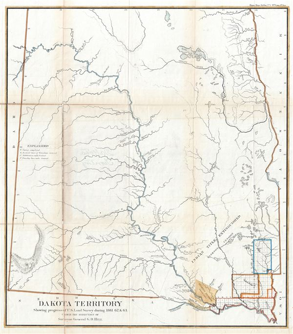 Dakota Territory Showing progress of U.S. Land Survey during 1861, 62 and 63.
