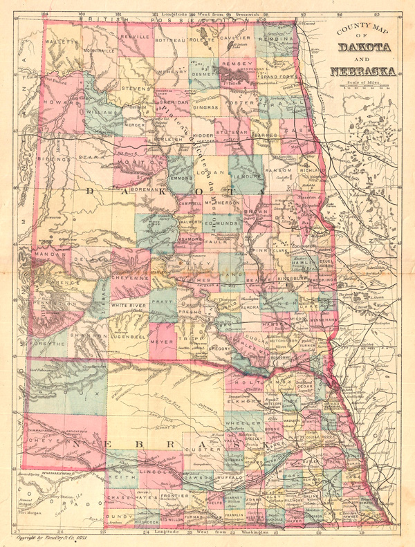County Map of Dakota and Nebraska.