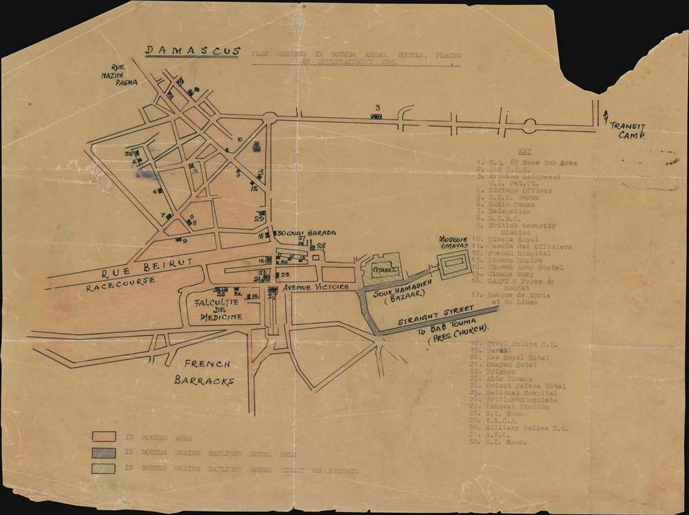 1942 Manuscript Map of Damascus, Syria During World War II