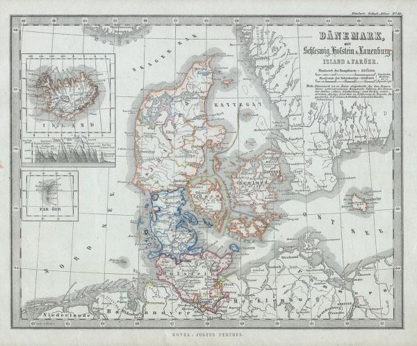 Danemark mit Schleswig, Holstein & Lauenburg. / Island of Faroer.