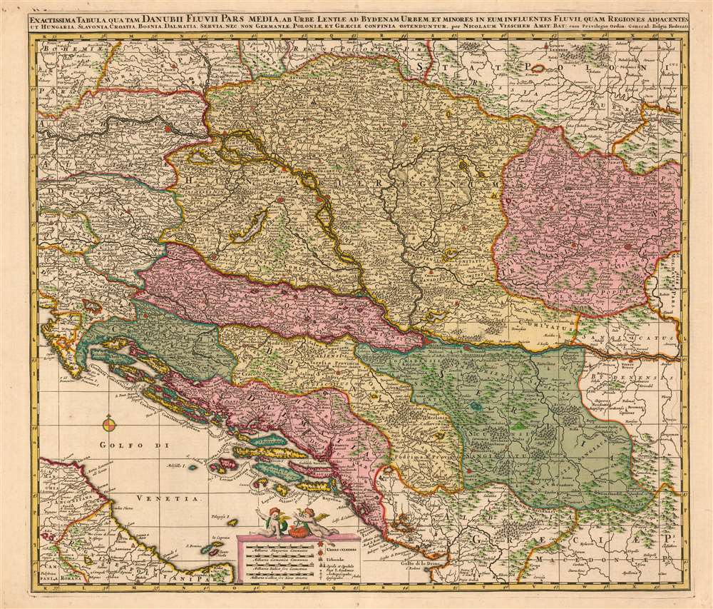1677 Visscher Map of Hungary, Croatia, Bosnia, Serbia and Dalmatia