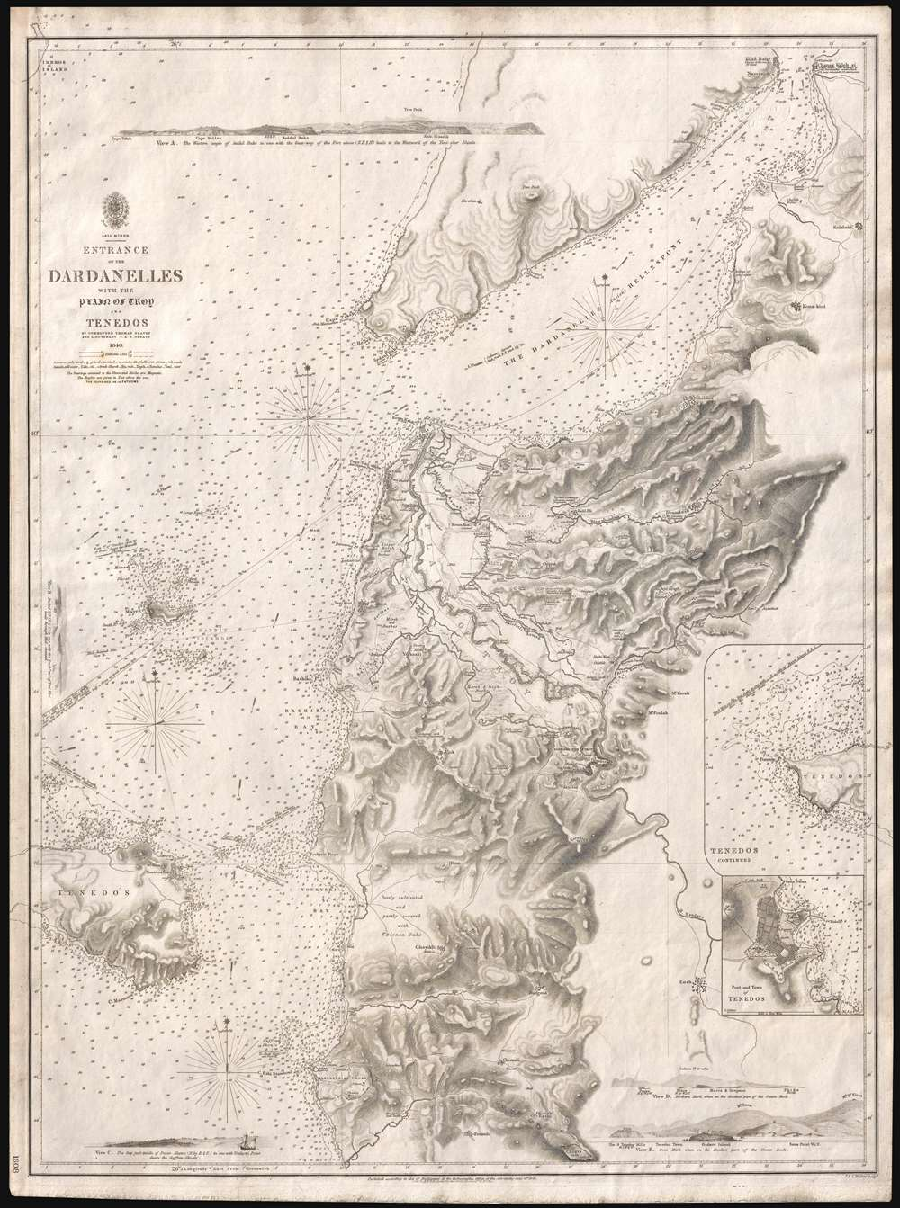1844 'Spratt Map' of the Dardanelles and the Troad - led to discovery of Troy!