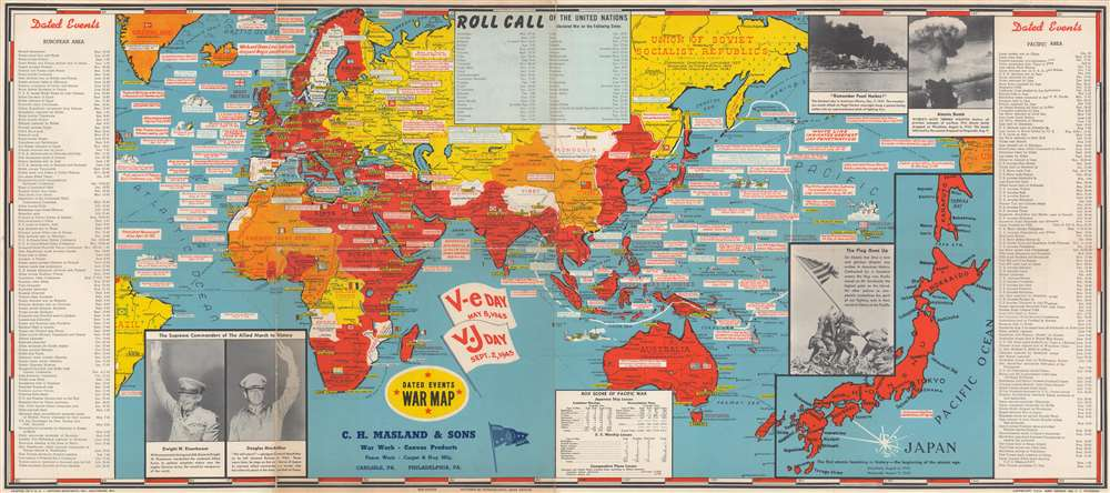 1945 Turner Map of the World at the End of World War II