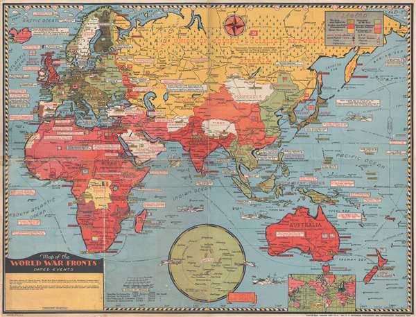 Map of the World War Fronts. Dated Events.: Geographicus ...