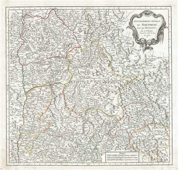 Gouvernement General du Dauphine, divise par Bailliages.