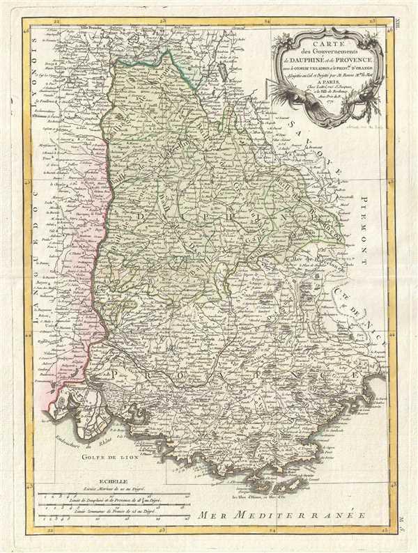Carte des Gouvernements de Dauphiné et de Provence avec le Comtat Venaissin et la Princte. D'Orange.