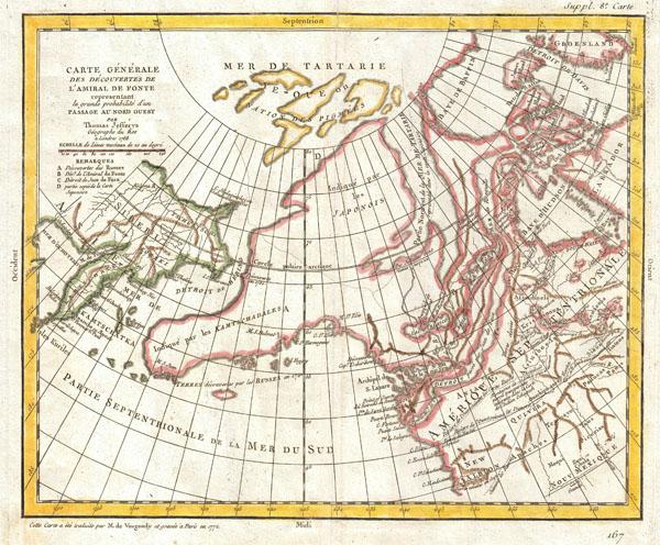 Carte Generale Des Decouvertes de L'Amiral de Fonte representant la grand porbabilite d'un Passage Au Nord Ouest par Thomas Jefferys Geographe du Roi a Londres 1768.