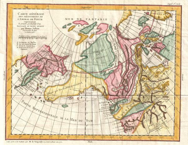 Carte Generale Des Decouvertes de L'Amiral de Fonte representant la grand porbabilite d'un Passage Au Nord Ouest par Thomas Jefferys Geographe du Roi a Londres 1768. - Main View