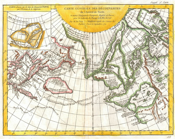 Carte Generale des Decouvertes de l'Amiral de Fonte et Autres Navigateurs Espagnols, Anglois et Russes pour la Recherche du Passage a la Mer du Sud.