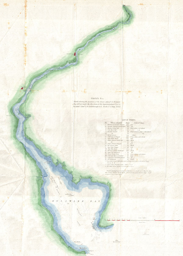 Sketch B (bis) Sketch showing the positions of the Buoys placed in Delaware Bay & River under the direction of the Superintendent U.S.C.S.  By Lieuts. Com. J. R. Goldsborough & R. Bache U.S. Navy, 1847.