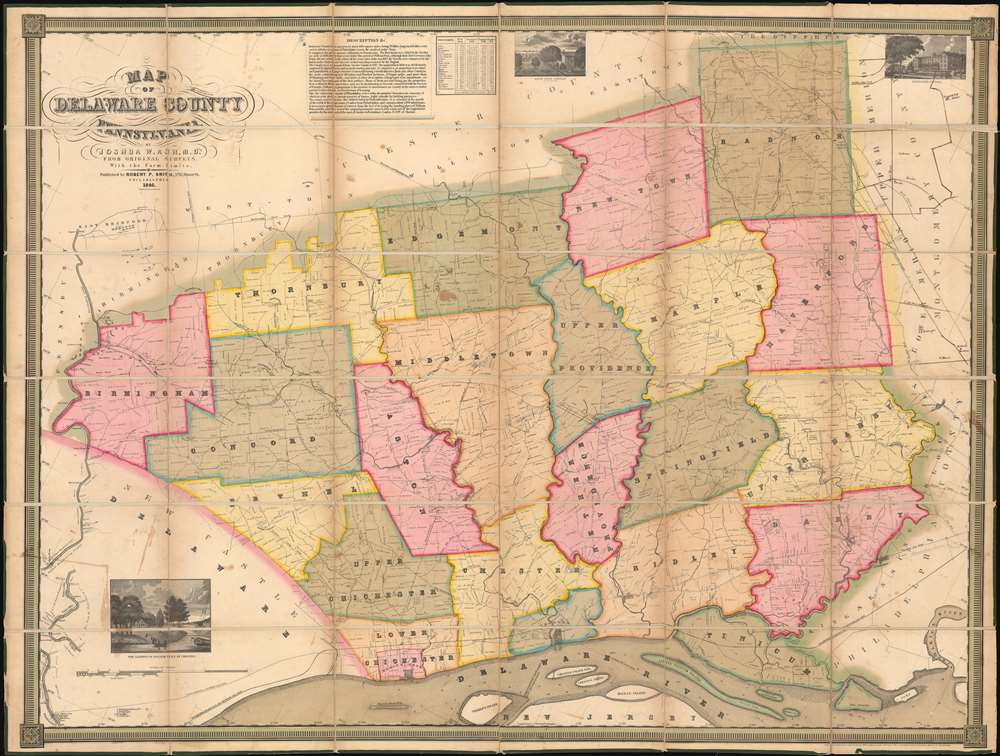 1848 Joshua W. Ash Map of Delaware County, Pennsylvania