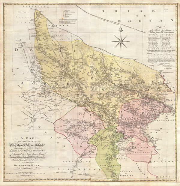 A Map of the Provinces of Delhi, Agrah, Oude, and Ellahabad, comprehending the Countries lying between Delhi, and the Bengal-Provinces, Surveyed by Major James Rennell, Surveyor General to the Honorable East-India Company, and Published by order of the Court of Directors of the said Company. By Andrew Dury, MDCCXXVII.
