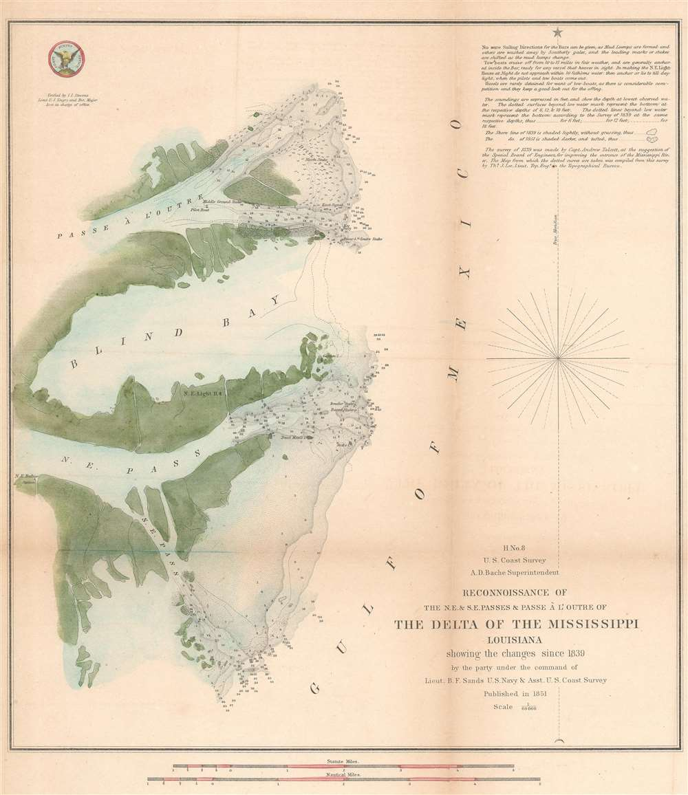 H No. 8 Reconnoissance of the N.E. and S.E. Passes and Passe A l'Outre of The Delta of the Mississippi Louisiana.