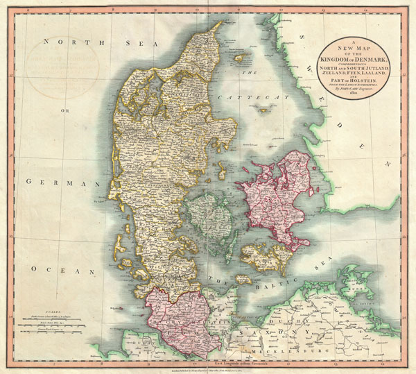 A New Map of the Kingdom of Denmark, Comprehending North and South Jutland, Zeeland, Fyen, Laaland, and Part of Holstein. From the Latest Authorities.
