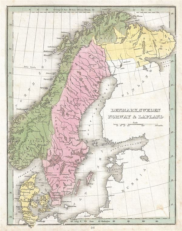 Denmark Sweden Norway And Lapland Geographicus Rare Antique Maps - Sweden lapland map
