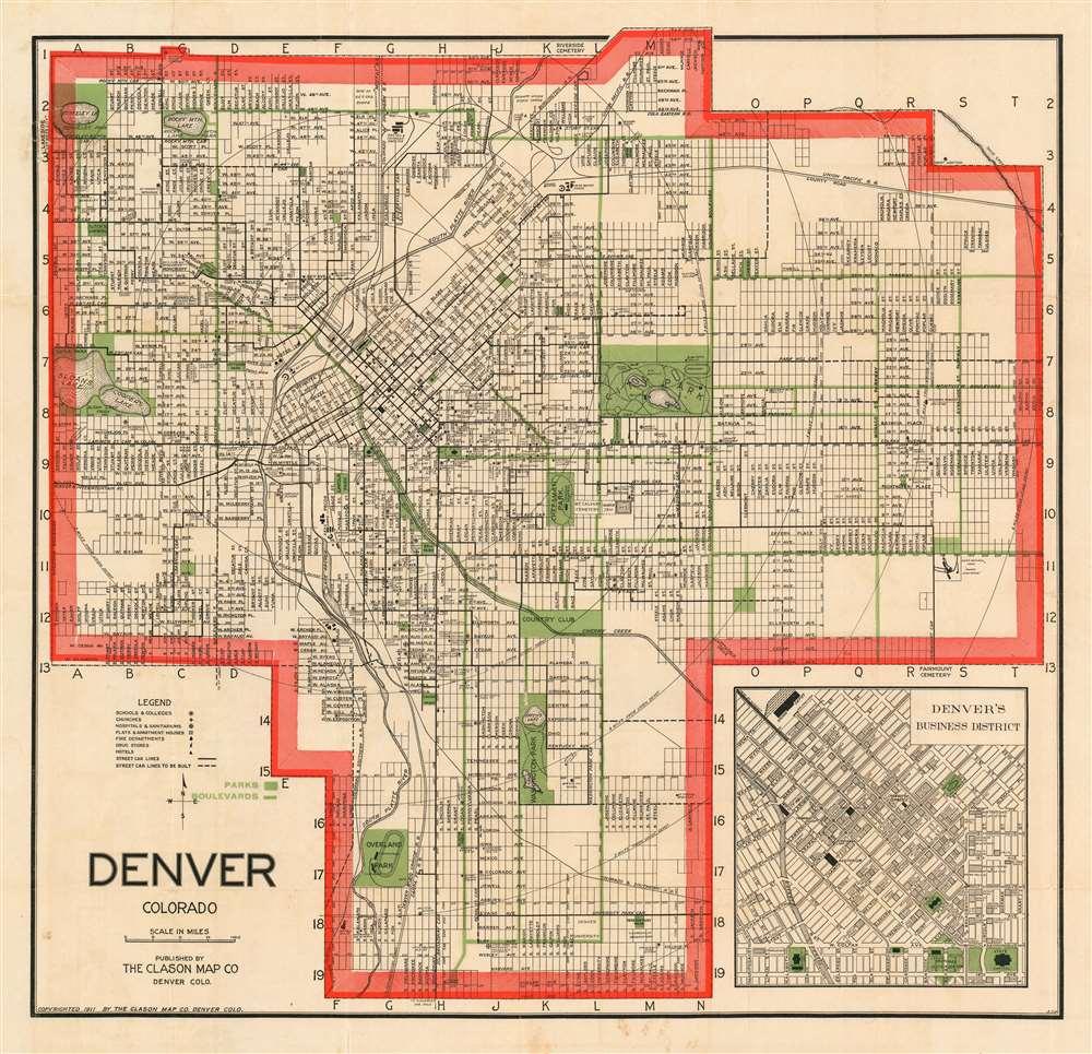 1911 Clason Map of Denver, Colorado