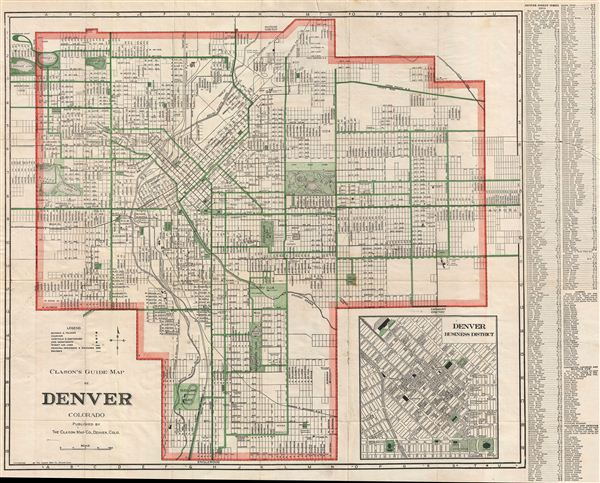 Clason's Guide Map of Denver Colorado.