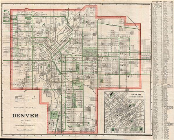 Clason's Guide Map of Denver Colorado. - Main View