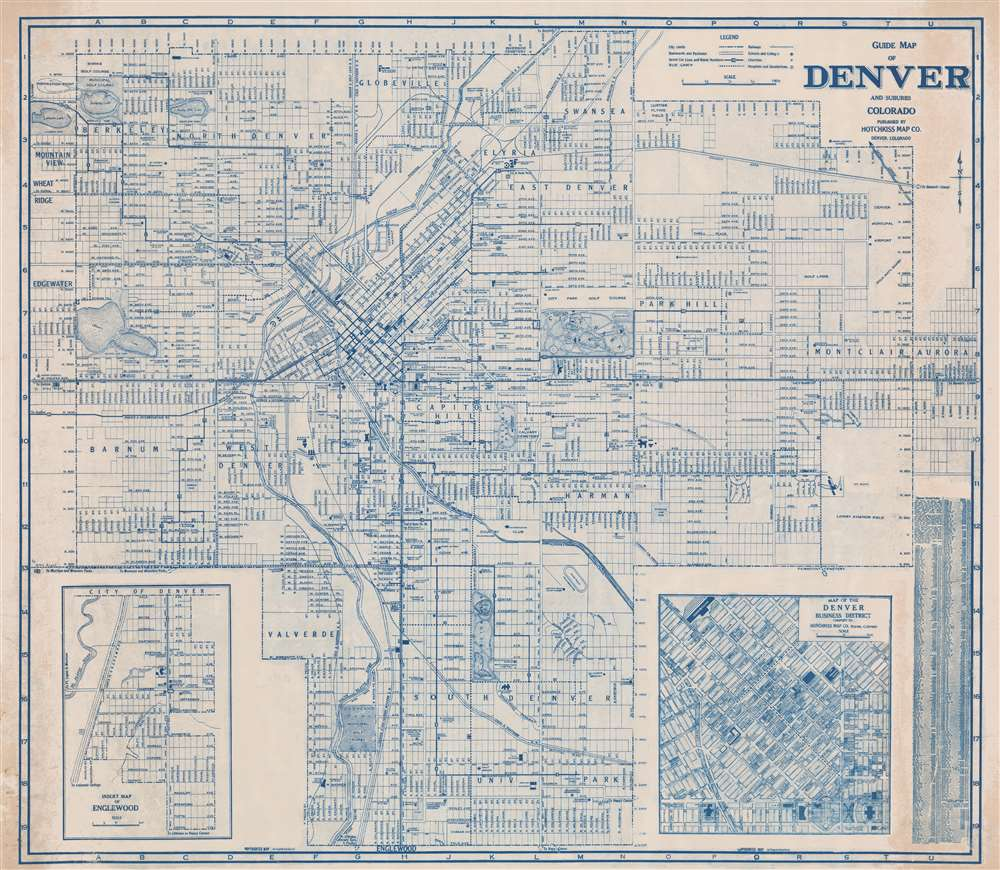 Guide Map of Denver and Suburbs Colorado. - Main View