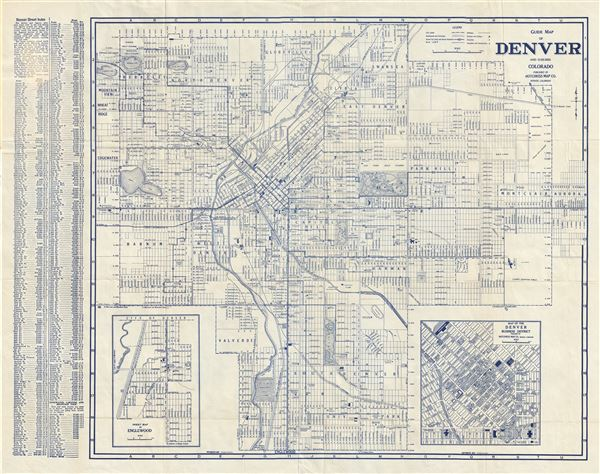 Guide Map of Denver and Suburbs Colorado.