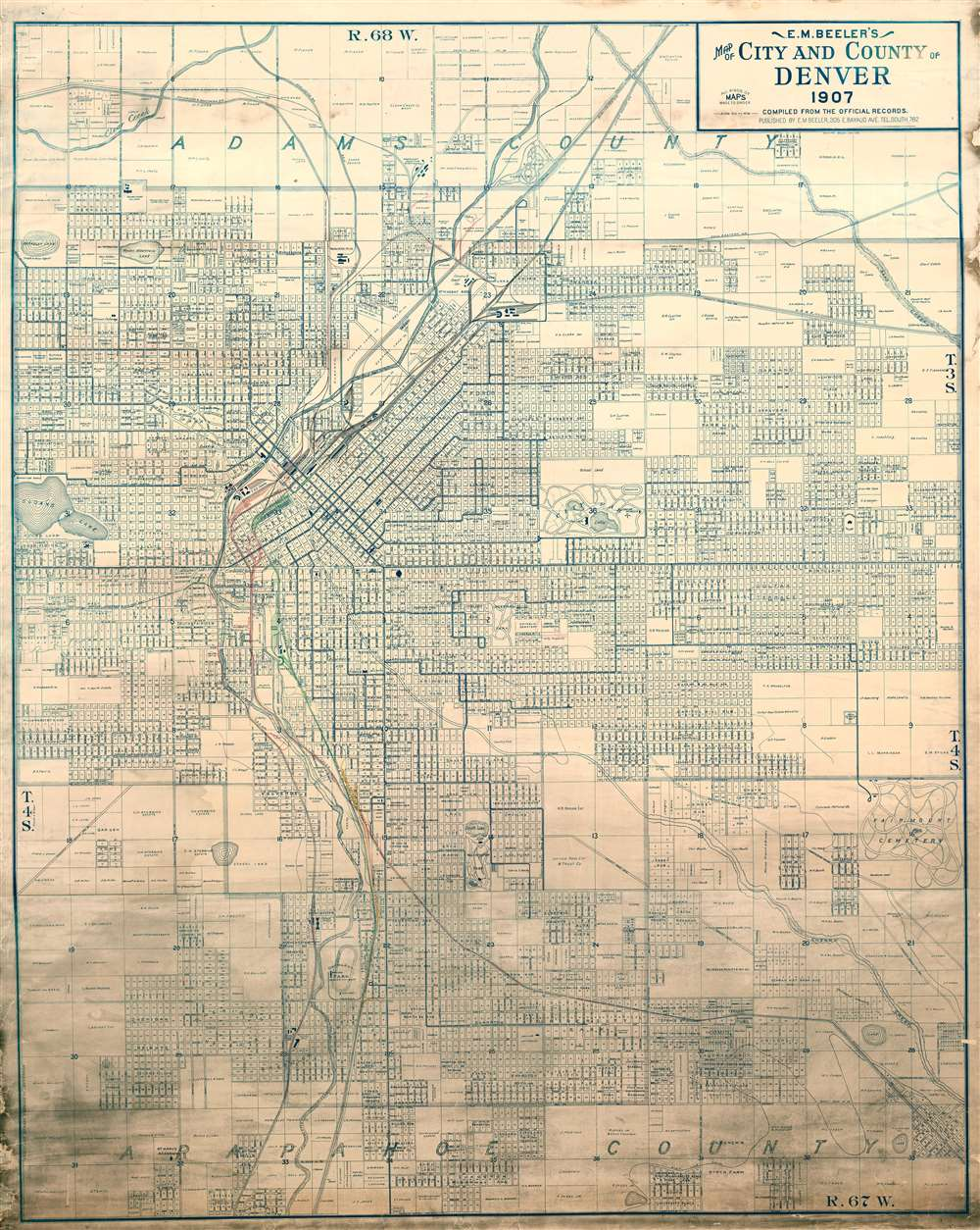 1907 E. M. Beeler Wall Map of Denver, Colorado w/ railroad manuscript