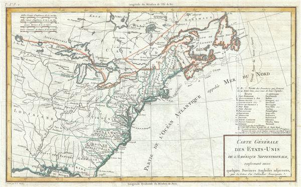 Carte Generale des Etats-Unis de l'Amerique Septentrionale, renfermant aussi quelques Provinces Angloises adjacentes.