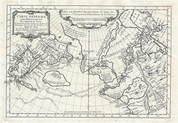 Carte General Des Decouvertes De L'Amiral de Fonte Et autres Navigateurs Espagnols, Anglois, et Russes, pour la recherche du Passage a la Mer du Sud.