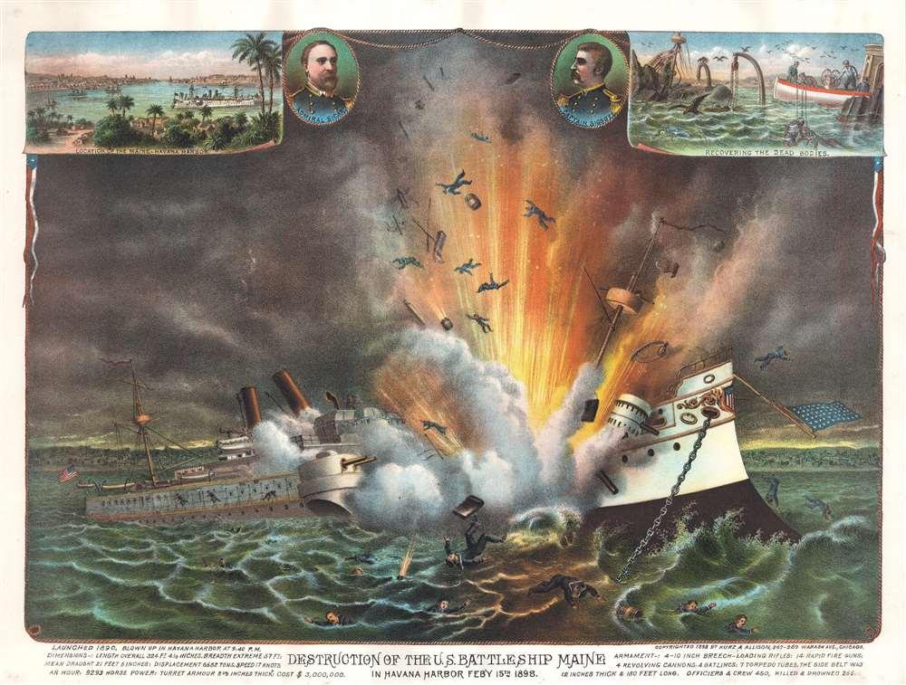Destruction of the U.S. Battleship Maine in Havana Harbor Feb'Y 15th 1898. - Main View