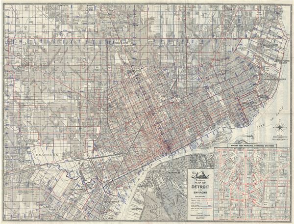 New National Authentic Map of Detroit and Environs.