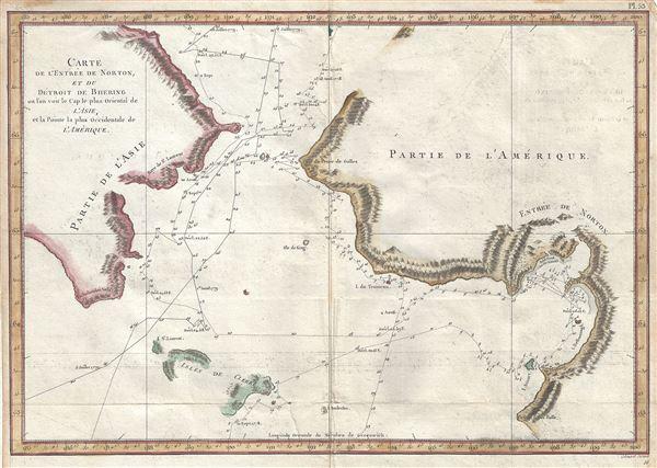 Carte de l'Entrée de Norton, et du Detroit de Bhering ou Von vou le Cap le plus oriental de l'Asie, et la Pointe la plus occidentale de l'Amerique.