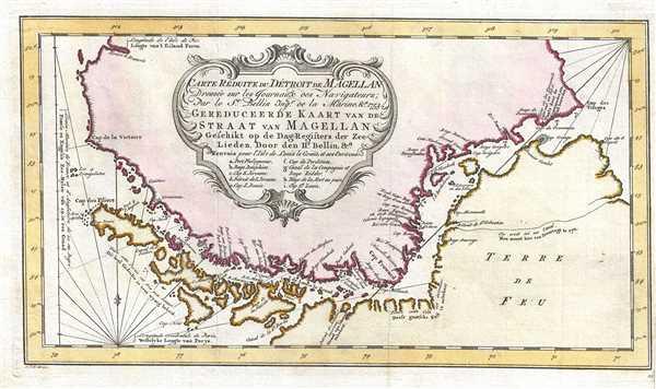 Carte Reduite du Detroit de Magellan Dressee sur les Journaux des Navigateurs.