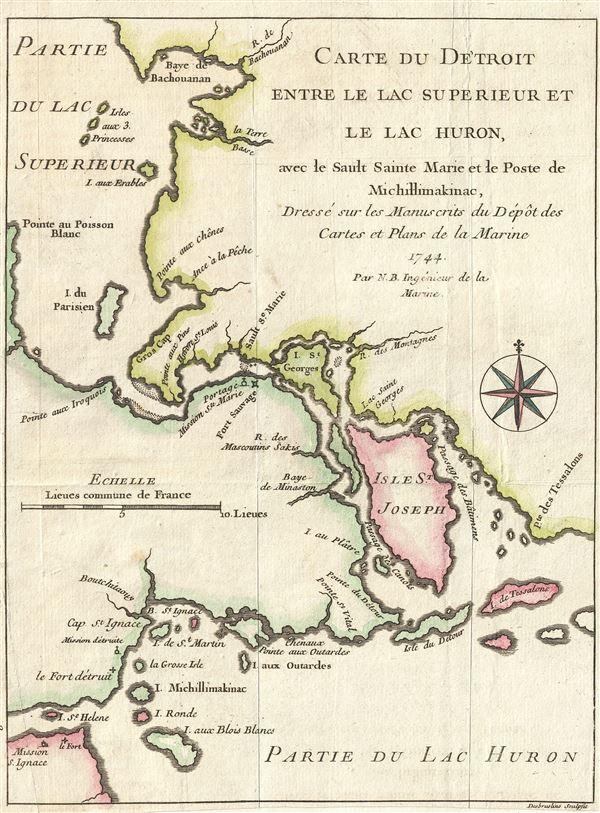 Carte du Detroit entre le Lac Superieur et le Lac Huron, ave le Sault Sainte Marie et la Poste de Michillimakinac, Dresse sur les Manuscrits du Depot des Cartes et Plans de la Marine.