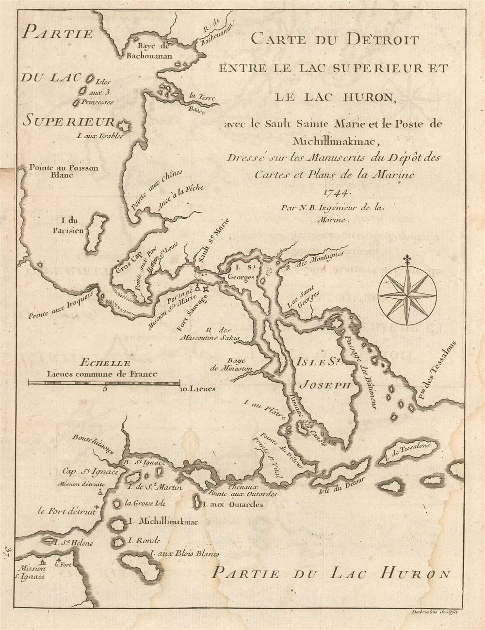 1744 Bellin Map of the Straits of  Great Lakes Huron, Michigan, and Superior