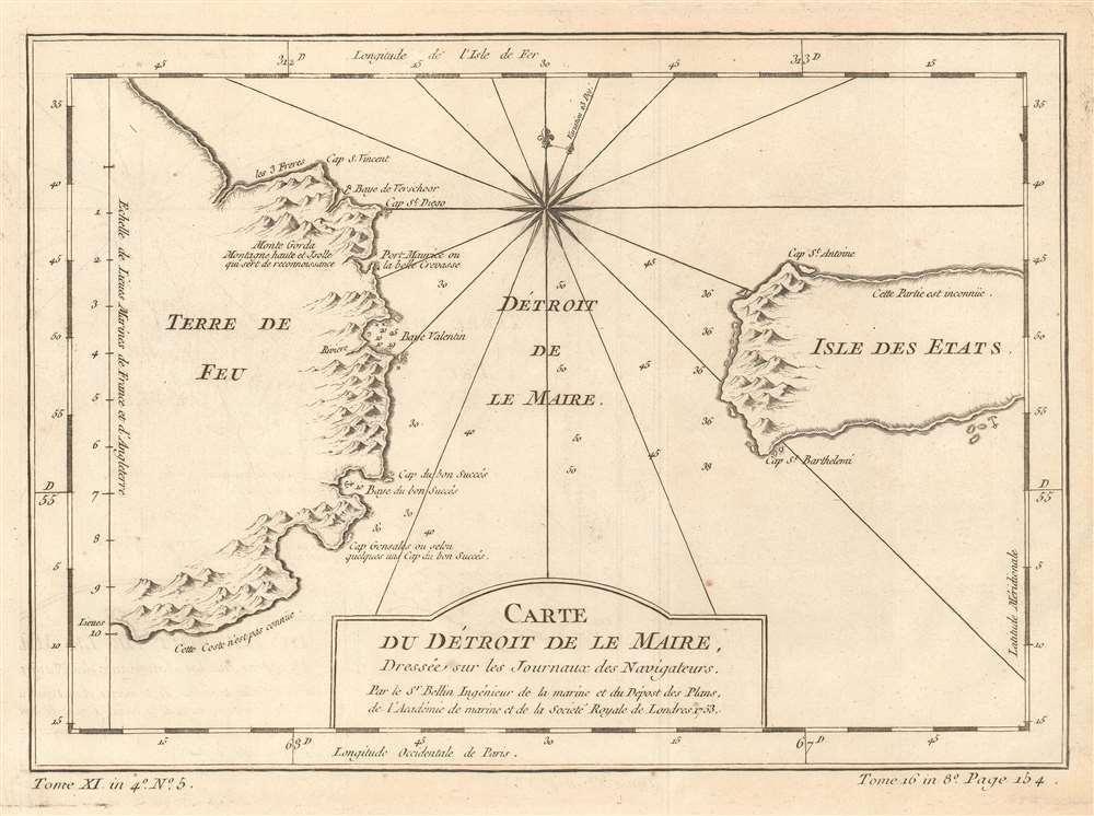 Carte du Détroit de Le Maire, Dressée sur les Journaux des Navigateurs.