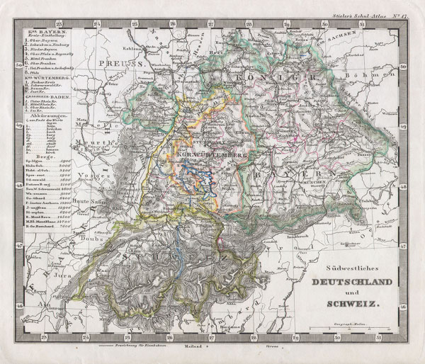 1862 Stieler Map of Southern Germany and Switzerland