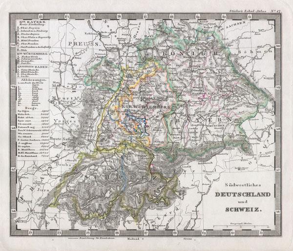 Sudwestliches Deutschland und Schweiz.