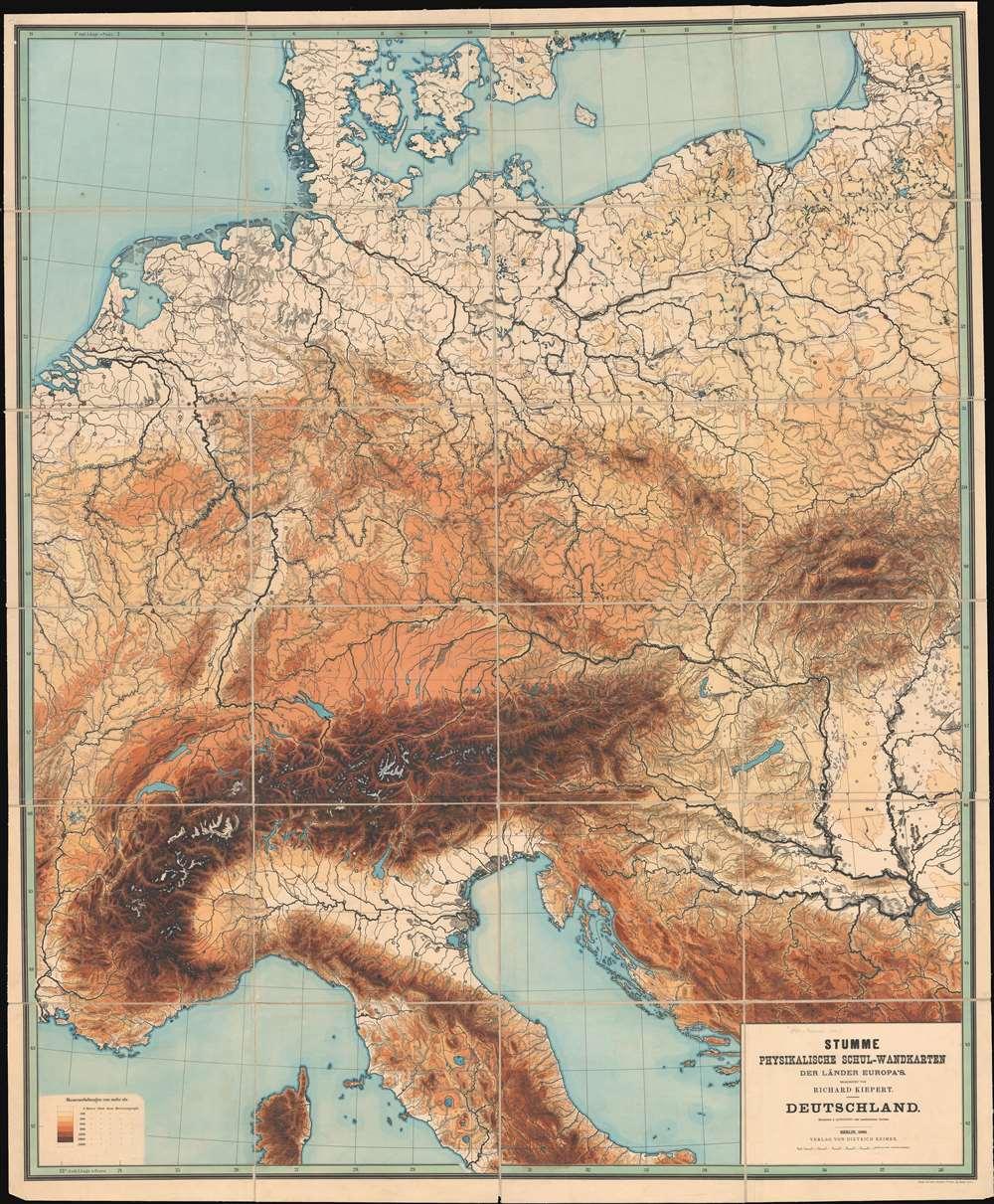 Stumme Physikalische Schul-Wandkarten der Länder Europas. Deutschland. - Main View