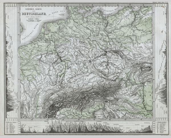 Gebirgs Karte von Deutschland.