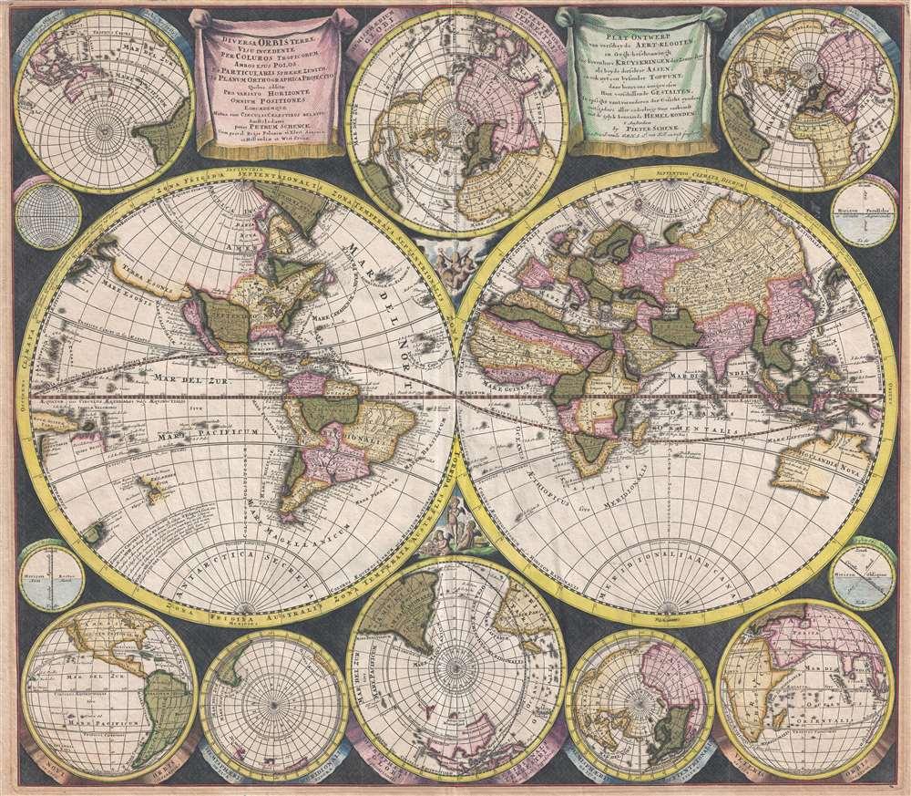 1706 Schenk Double Hemisphere Map of the World