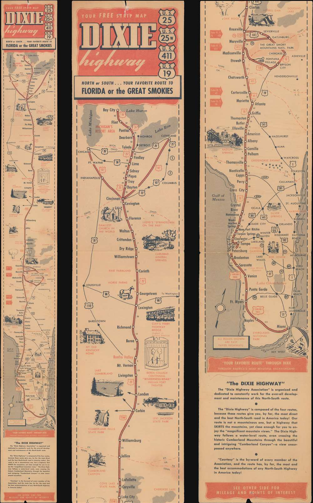 1955 U.S. 25 Dixie Highway Association Strip Map of the Dixie Highway