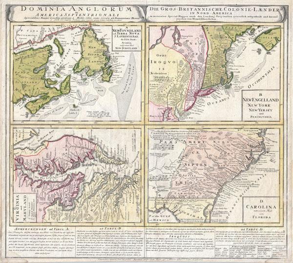 Dominia Anglorum in America Septentrionali. Specialibus Mappis Londini Primum a Mollio Edita, Nunc Recusa ab Homannianis Hered.