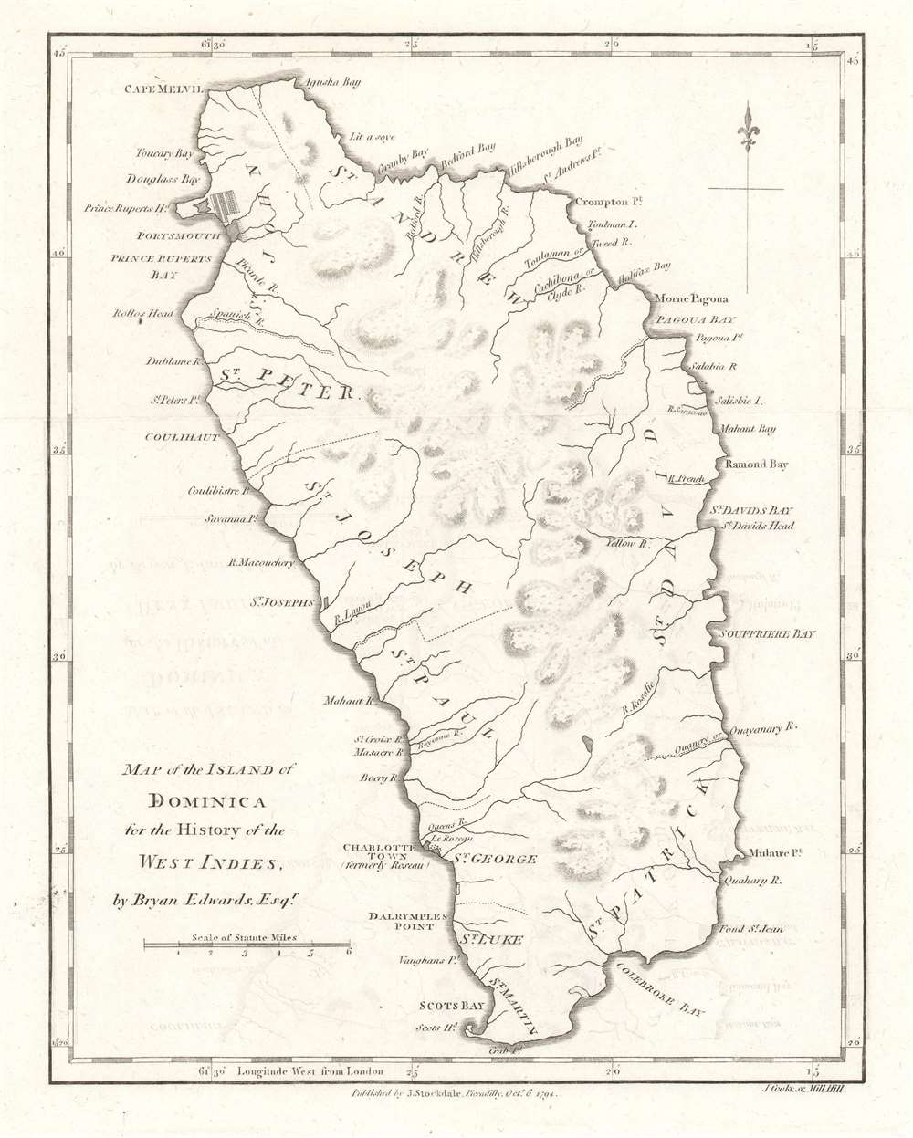 Map of the Island of Dominica. - Main View
