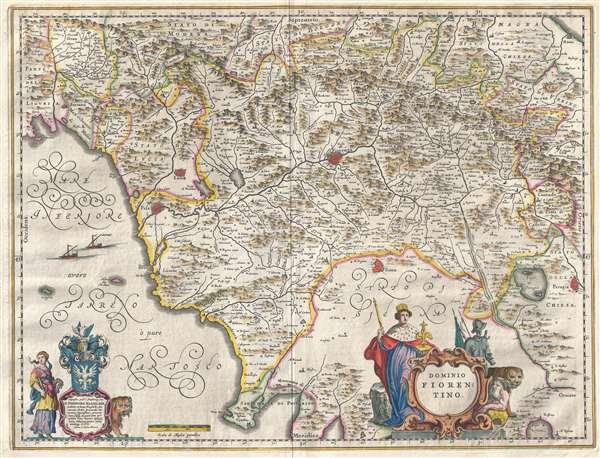 1646 Blaeu Map of Tuscany (Florence), Italy
