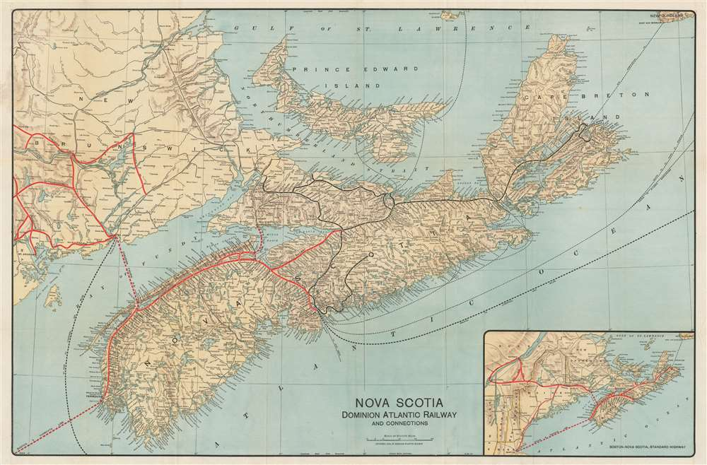 1918 Poole Brothers Map of Nova Scotia and Dominion Atlantic Railway