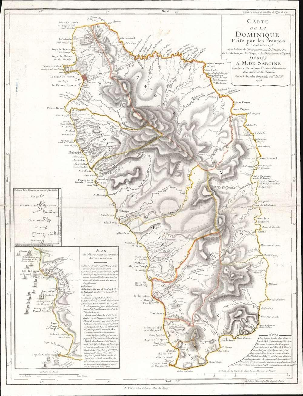 Carte de la Dominique Prise par les Francois Le 7 septembre 1778... - Main View