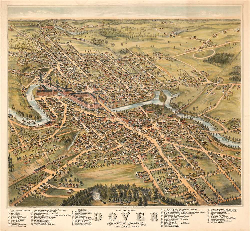 1877 Albert Ruger Bird's-Eye View Map of Dover, New Hampshire