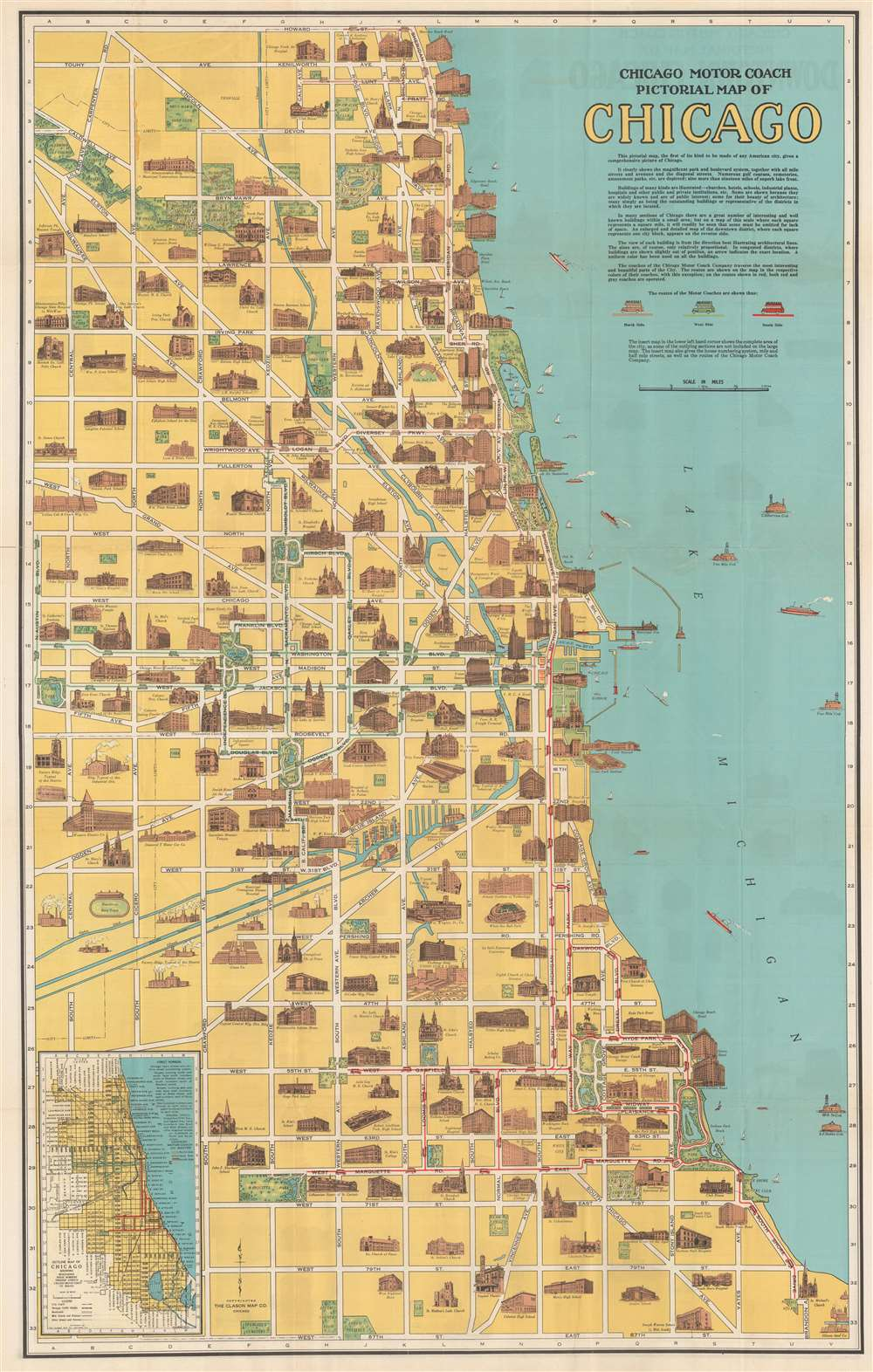 Chicago Motor Coach Pictorial Map of Chicago. - Main View