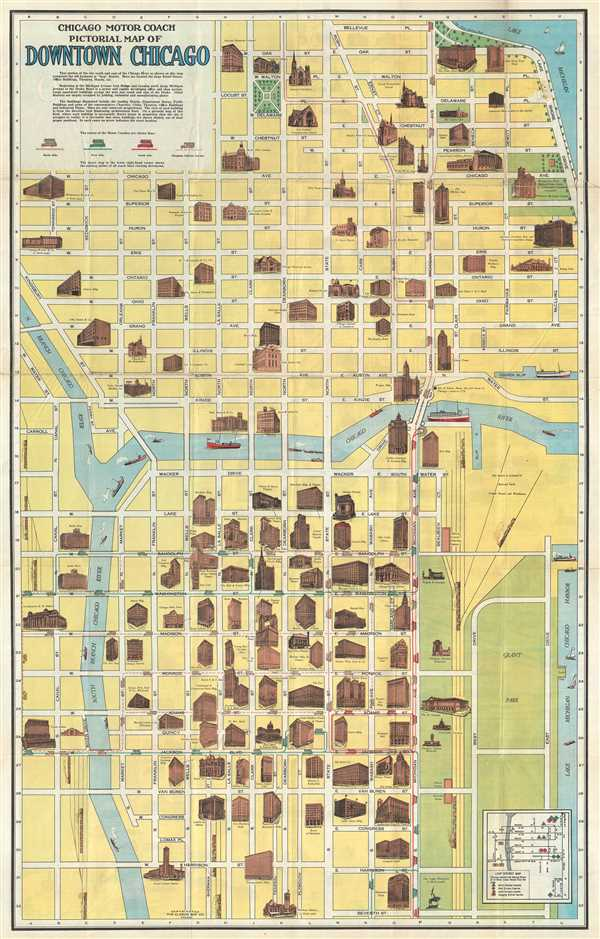 Chicago Motor Coach Pictorial Map Of Downtown Chicago Geographicus